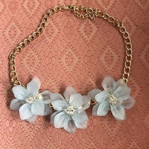 Talbots Jewelry - Acrylic pale blue necklace with gold chain